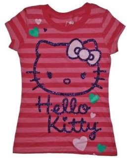 Hello Kitty Pink Stripe Glitter T shirt for Girls