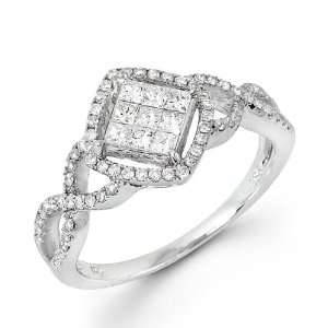 0.67ctw Round Princess Cut Diamond 14k White Gold Ring