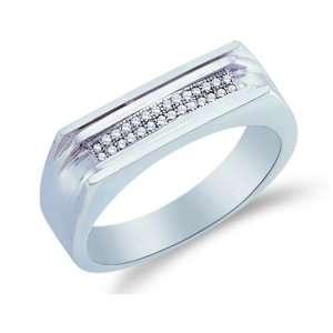 Size 10   10K White Gold Diamond Two Rows MENS Wedding Band Ring   w