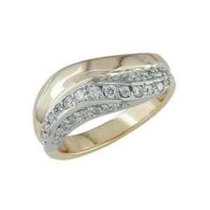 Feisty   size 12.25 14K Gold Two Tone Half Carat Diamond Ring: Jewelry