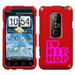 HTC EVO 3D PINK I LOVE HIP HOP ON A RED HARD CASE COVER