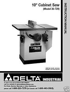 Delta 10 Table Saw Instruction Manual Model # 36 729