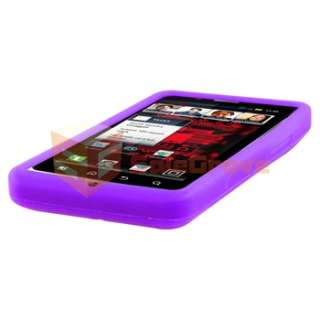 Purple Gel Soft Case+Privacy Film+Car+AC Charger For Motorola Droid