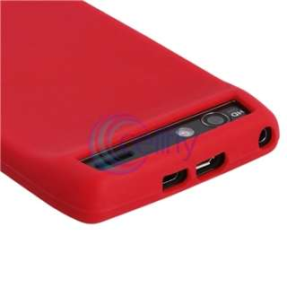 Red Silicone Soft Case+Privacy Screen Protector Cover For Motorola