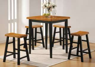 Modern Retro Oak Black Kitchen Dining Room Set Table 5P