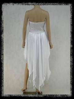 dress190 WHITE CHIFFON SEXY STRAPLESS TAIL HEM PROM WEDDING EVENING