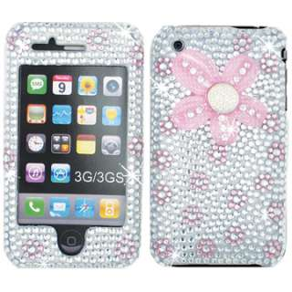 PINK FLOWER SILVER DIAMOND BLING RHINESTONE CASE COVER APPLE IPHONE 2