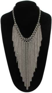 New Silver Tone Chain Fringe Statement Necklace
