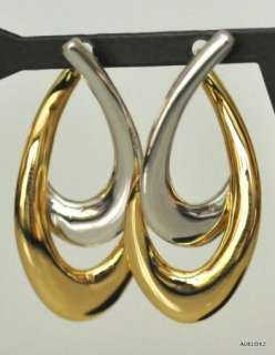 New CHARLES GARNIER 18K Yellow & White Gold Double Link Design Hoop