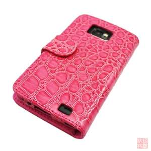 Hot Pink Croco Folio Wallet Leather case Cover For Samsung Galaxy S2
