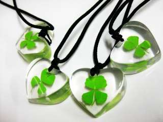 12pcs Real Four Leaf Clover lucky Style lovely Pendant&Necklace