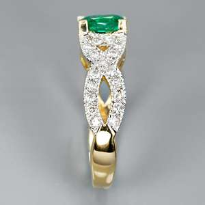NATURAL 0.93ct GREEN EMERALD & 40pcs VS/H DIAMOND 22k GOLD RING