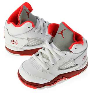 NIKE GIRLS AIR JORDAN 5 RETRO (TD) TODDLER SIZE 7 White Scarlet Red