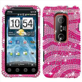 Pink Zebra Rhinestone Bling Case Cover for HTC EVO 3D