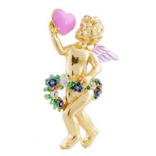 FREE christmas loving heart angel 31*51mm 6pcs mix brooch pin W22942