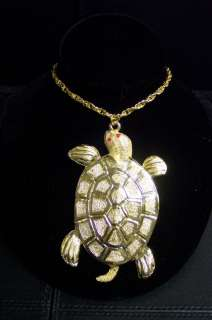 Vintage Large Gold Tone Red Rhinestone Turtle Necklace