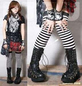 GOTH Punk Visual Kei D ring Corset Platform boot B 26.5