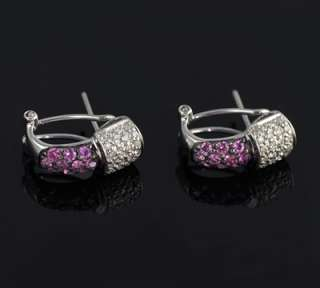 New Diamond and Pink Sapphire 14k White Gold Earrings 1.36 total ctw