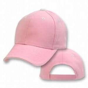 Pink White Plain Adjustable Velcro Baseball Cap Hat