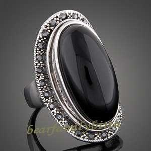 18k white gold GP black Swarovski crystal ring 1656