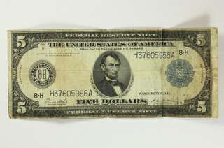 1914 Five Dollar $5 Bill Federal Reserve Note Blue Seal St. Louis F