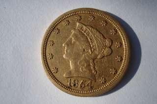 US 2 1/2 QUARTER EAGLE LIBERTY HEAD GOLD COIN 1854 O