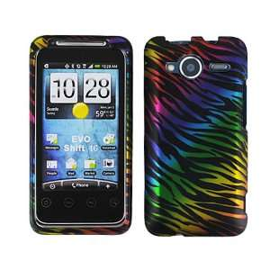 Black Colorful Rainbow Zebra Skin Print 2 Piece Rubber