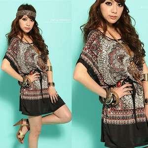 Kimono sleeve woman funky loose T shirt top mini dress N190 SIZE M