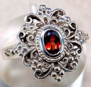 Natural Garnet 925 Solid Sterling Silver Victorian Style Ring sz 6.5