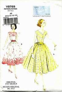 VINTAGE VOGUE 8789 SEWING PATTERN 1957 DESIGN PULLOVER DRESS SZ 6 14