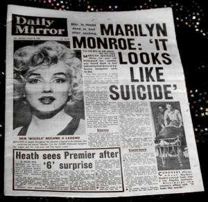 VERY RARE 1962 DAILY MIRROR MARILYN MONROE NEWSPAPER