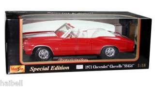 1971 Chevrolet Chevelle SS 454 Convrt Die Cast 1/18 Red