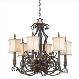 French Country Six Light Chandelier in Provincial Bronze