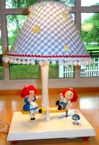 Vintage~IRMI~Nursery~Kid~Animated & Musical~Wood~Raggedy Ann & Andy