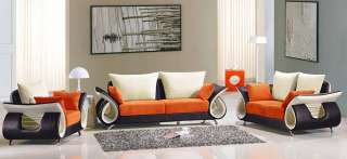 Contemporary Mixed Color Orange Brown Leather and Fabric Sofa Set