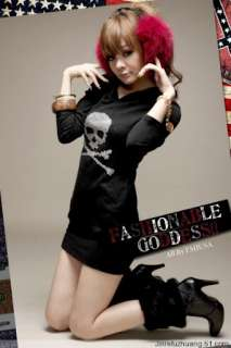 Womens Hoodie Studded Skull T shirt Mini Dress XS S/2 8