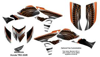 Honda TRX 450R ATV Graphics Decal Kit 7777 Orange