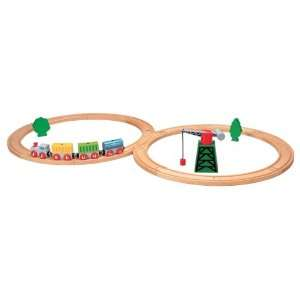 Complete First Railway 22 pc. Set Wooden Toy Train Set: Toys & Games