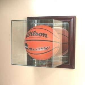 Wall Mounted Basketball Glass Display Case with Cherry Wood Molding