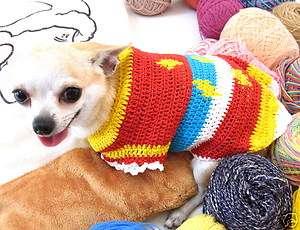 XXS XS Handmade crochet Dog Puppy Shirt Clothes Sweater D869 Chihuahua