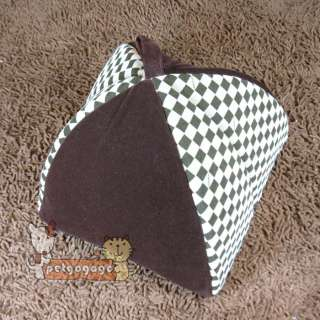 Dog Pet Cat House Indoor Pet Dog Cat House Bed Classical Grid Brown Sz