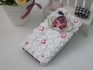 Pink Crown Crystal Case Cover for iPhone 4 4S Black White XH