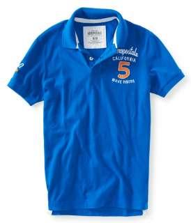 aeropostale mens aero 5 wave rider jersey polo shirt