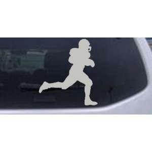 Silver 10in X 8.8in    Football Player Running Sports Car Window Wall
