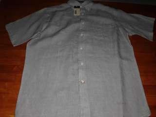Mens CREMIEUX Gray Grey Linen Shirt Medium M $75 NWT