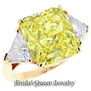 50 Carat Radiant Cut Three Stone Fancy Deep Canary Yellow Diamond