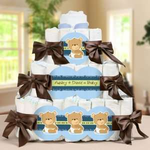 Baby Boy Teddy Bear   3 Tier Diaper Cake   Baby Shower