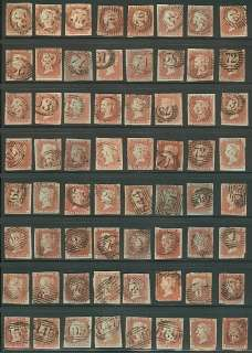 GREAT BRITAIN #3 Group of 128 Scott #3 One Penny red brown on bluish