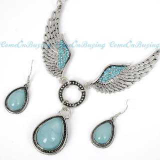 TIBETAN SILVER BLUE CRYSTAL ANGEL WING EARRINGS NECKLACE PENDANT
