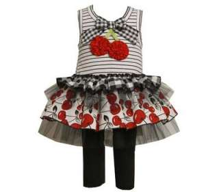 Baby Girls Black / White Cherry Dress & Leggings Outfit Set 2T